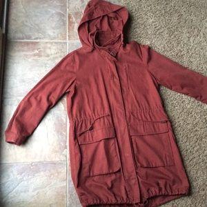 Dark red trench coat